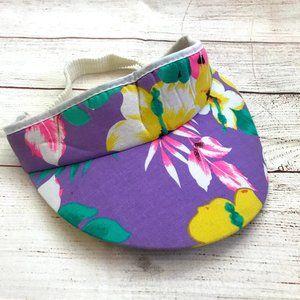 Vintage 80s Purple Hawaiian Floral Print Visor Hat